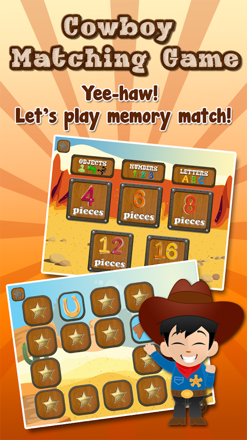 Cowboy Memory Game for Kids - screenshot