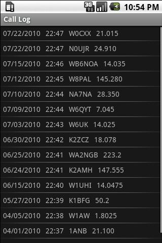 Amateur Radio Call Log - screenshot