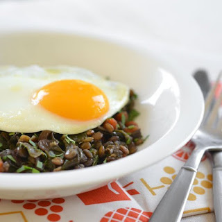 Braised Lentils and Chard Topped with an Egg.