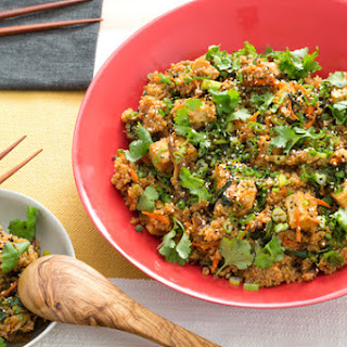 "Quinoa & Tofu ""Fried Rice"" with Chinese Broccoli & Crispy Shiitake Mushrooms."