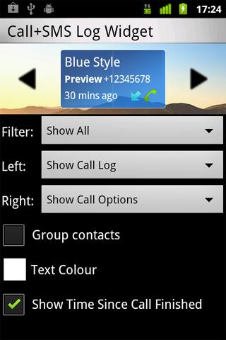 Call + SMS Log Widget - screenshot