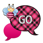 GO SMS - Pink Plaid Bee