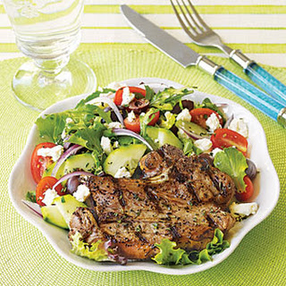 Grilled Lamb Chops with Greek Salad.