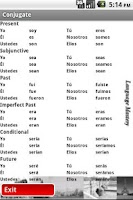 Screenshot of Talking Spanish Verb Reference