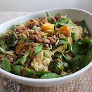 Squash & Brussels Sprouts Pasta Salad with Brown Sugar Balsamic Vinaigrette