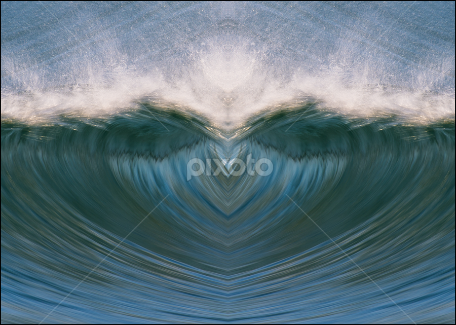 My Valentine by Clive Wright - Digital Art Abstract ( mirror, water, spray, heart, wave, motion )