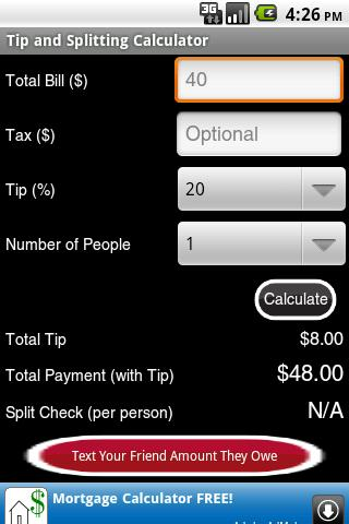 Tip and Splitting Calculator - screenshot