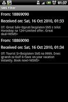 Screenshot of SMS Filter
