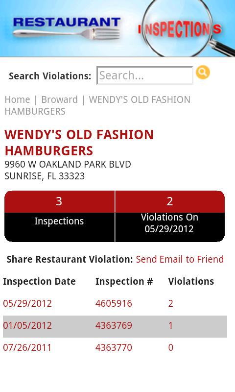 Restaurant Inspections - FL - screenshot