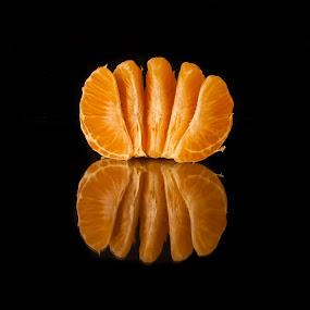 Oranges #3 by David Kreutzer - Food & Drink Fruits & Vegetables ( orange, reflection, citrus, fresh, mandarin, dark background, freshness )