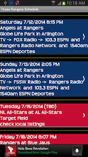 Schedule Texas Rangers fans - screenshot thumbnail