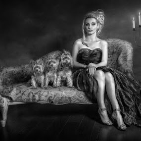 Her Ladyship by KT Allen - Black & White Portraits & People ( blonde, dogs, woman, dress, candles, candle light, lady, legs, yorkies, yorkshire terriers )