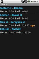 Screenshot of FareCalc