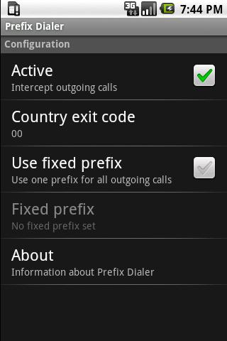 Prefix Dialer - screenshot