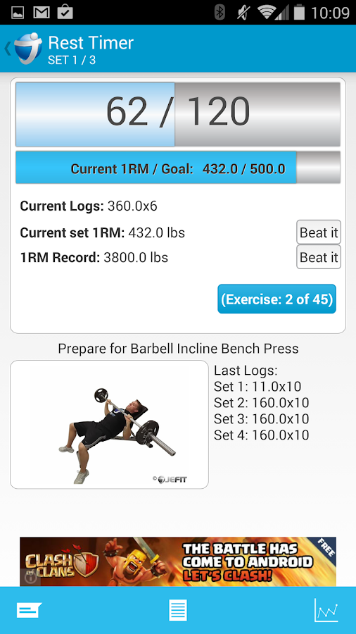 JEFIT Workout - Exercise Log - screenshot