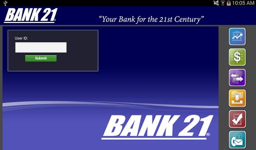 Bank 21 Tablet Banking