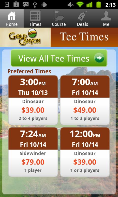 Gold Canyon Tee Times- screenshot