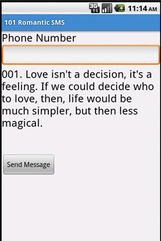 101 Romantic SMS - screenshot
