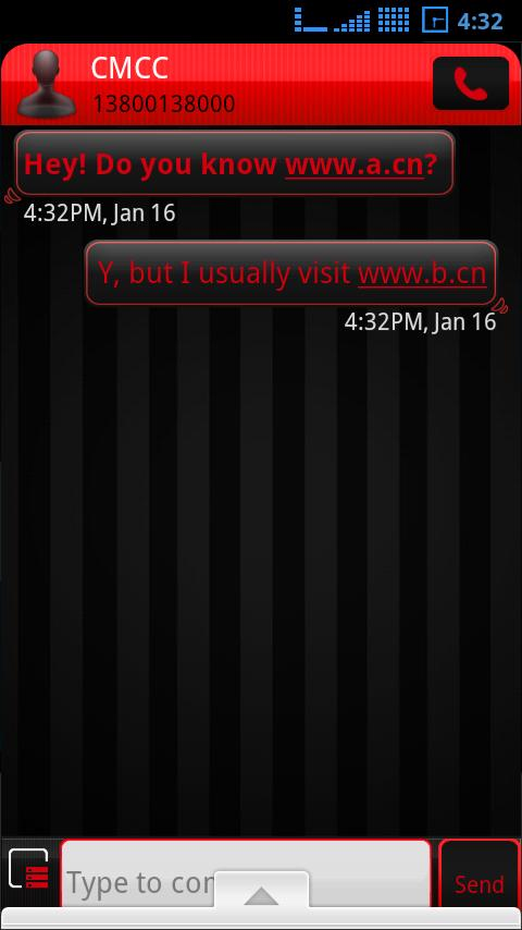 Go Sms Theme Red - screenshot