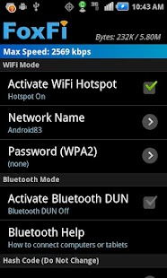 FoxFi (WiFi Tether w/o Root) Screenshot 1