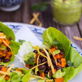 Sweet Potato & Black Bean Lettuce Wraps with Crispy Tortilla Strips & Smashed Avocado with Lime.