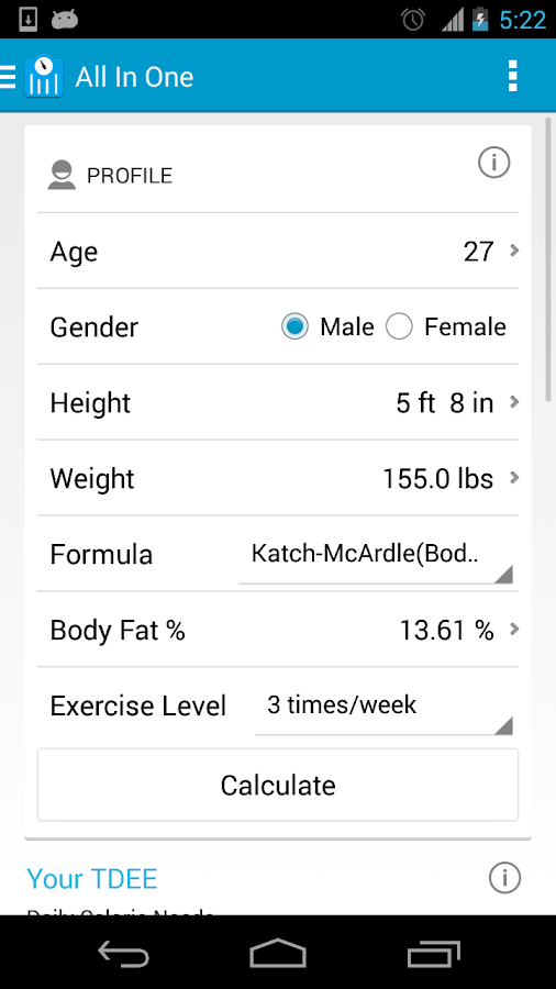 MyFitness Calculator - screenshot