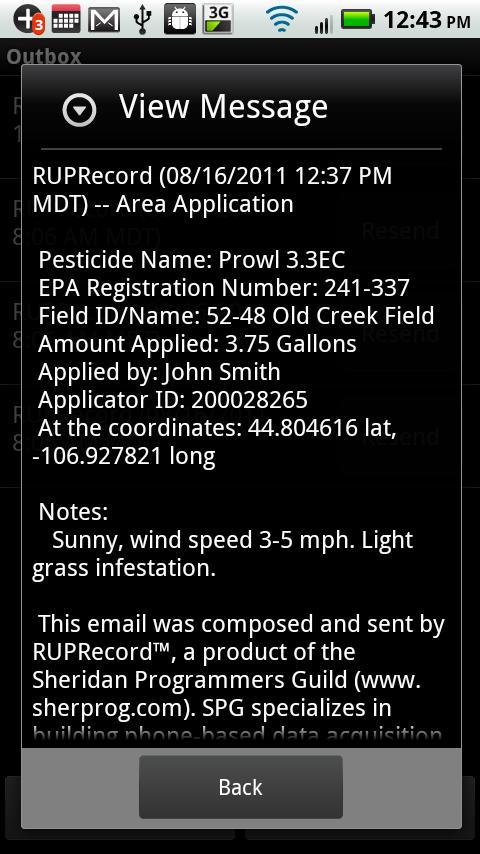 RUP Record- screenshot