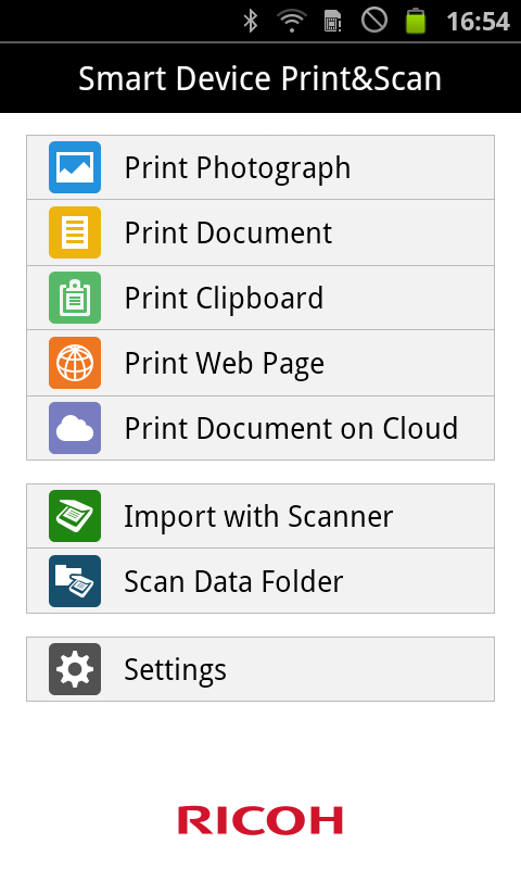 RICOH Smart Device PrintScan Screenshot