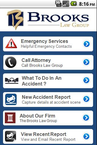 Accident App by Brooks Law- screenshot
