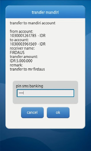 Mandiri Mobile Android, Transaksi Mobile Banking Android