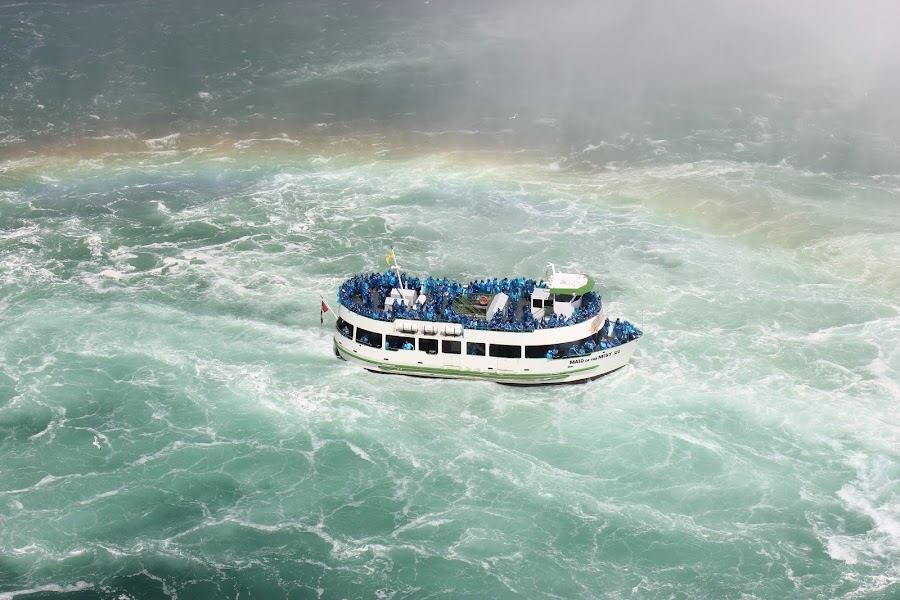Rainbow follows. by Thakkar Mj - Transportation Boats ( water, cruiseship, niagara falls, canada maid of the mist, device, travel, transportation,  )