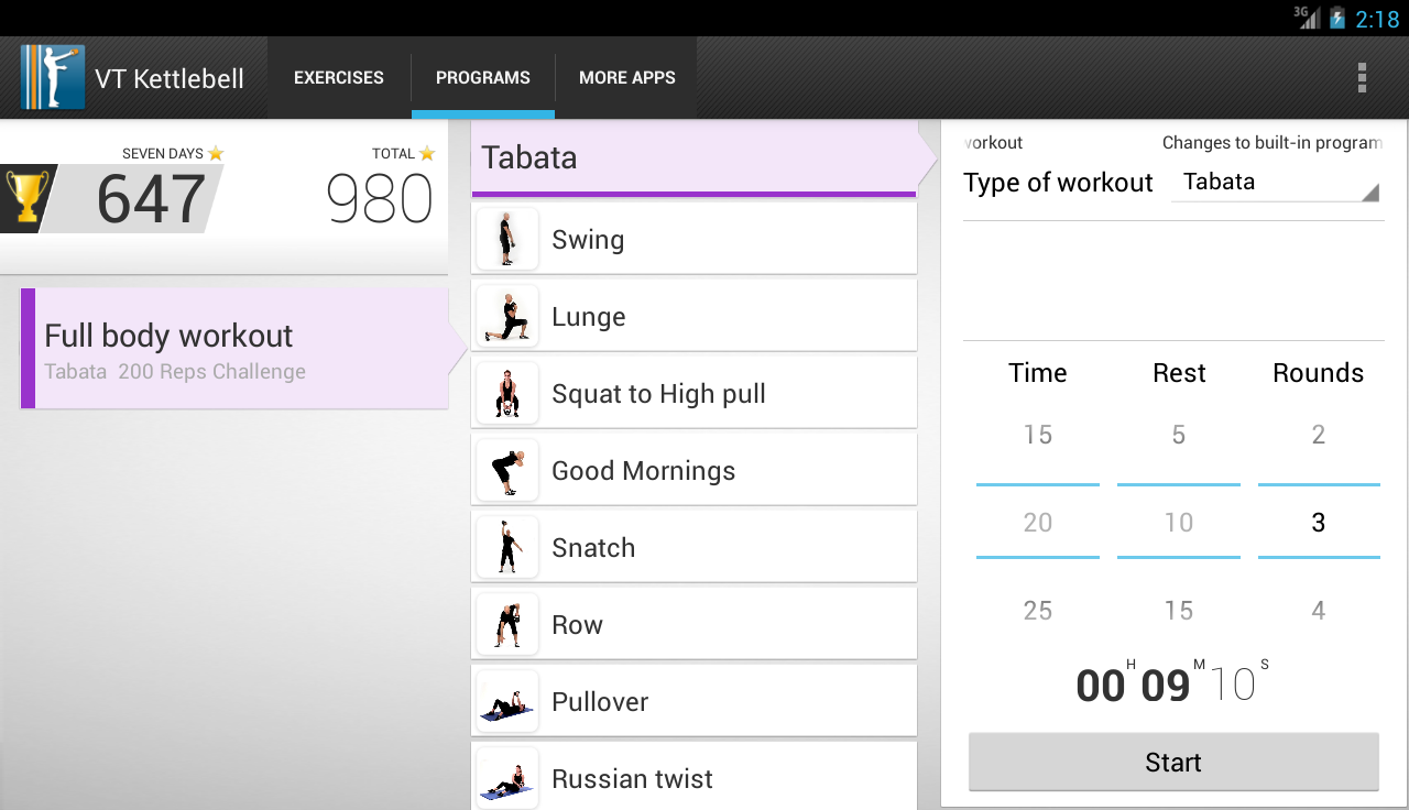 Virtual Trainer Kettlebell - screenshot