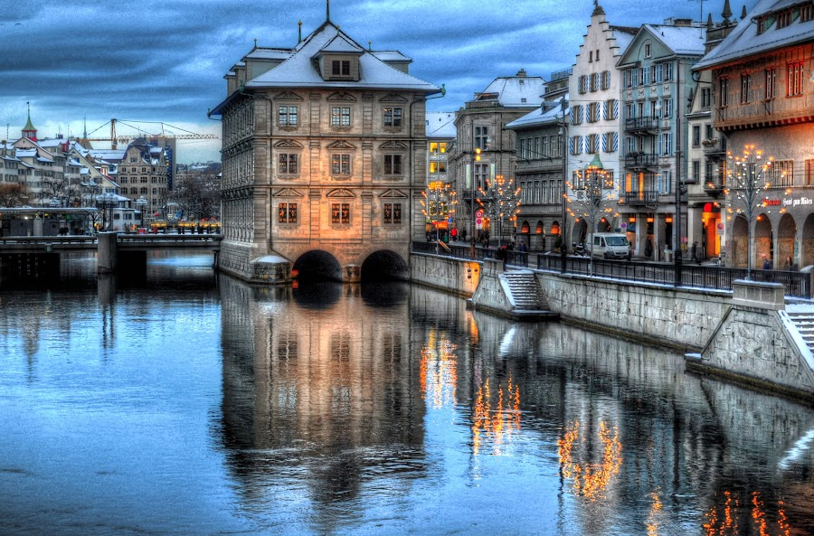 Lets go already! by Shahriar  Zayyani - City,  Street & Park  Historic Districts ( water, reflection, zurich, europe, hdr, german, old city, lights, lighting, suisse, quai, switzerland, downtown, banks, river )