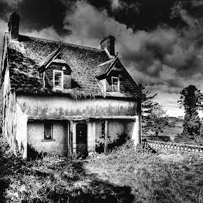 Old farm house. by Jim Moran - Buildings & Architecture Decaying & Abandoned ( farm, old, grass, garden.trees, house, green., wall )