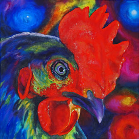 Rooster by Veronica Blazewicz - Painting All Painting ( bird, farm, colorful, art, original, rooster, painting,  )