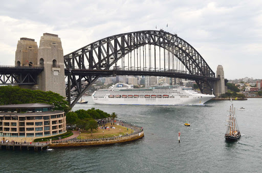 Sea-Princess-Sydney-Australia - Sea Princess passes beneath Sydney Harbour Bridge following her departure from Darling Harbour.