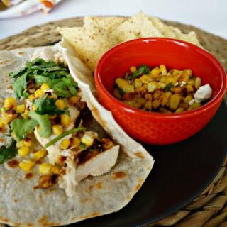 Honey Lime Chicken Fajitas with Corn Salad and Fresh Salsa Verde