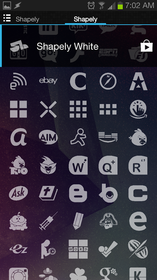 Shapely White Icons - screenshot