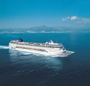 The luxury cruise ship MSC Armonia sails off Spain's Canary Islands.
