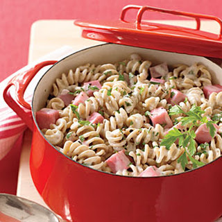 Pasta with Ham and Herbed Cheese.