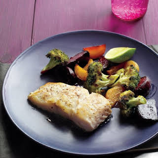 Seared Fish with Beets and Broccoli.