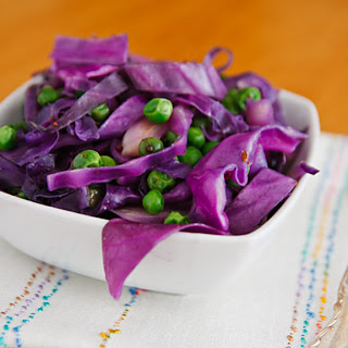 Red Cabbage and Peas with Cumin and Mustard Seeds.
