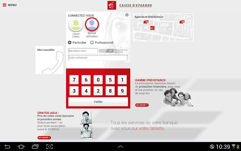 Banque pour tablettes Android Android App Screenshot