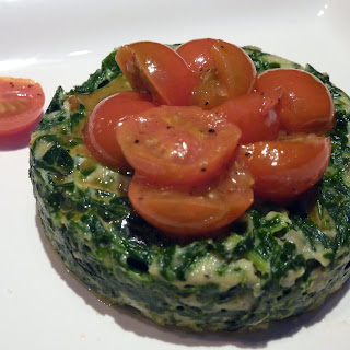 Cozy Spinach Timbales with Sauteed Tomatoes.
