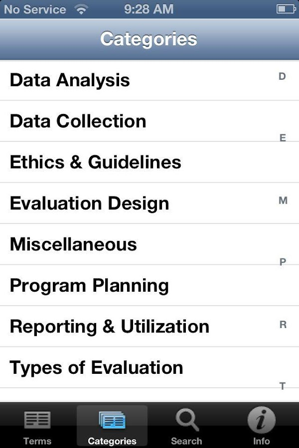 Evaluation Glossary - screenshot