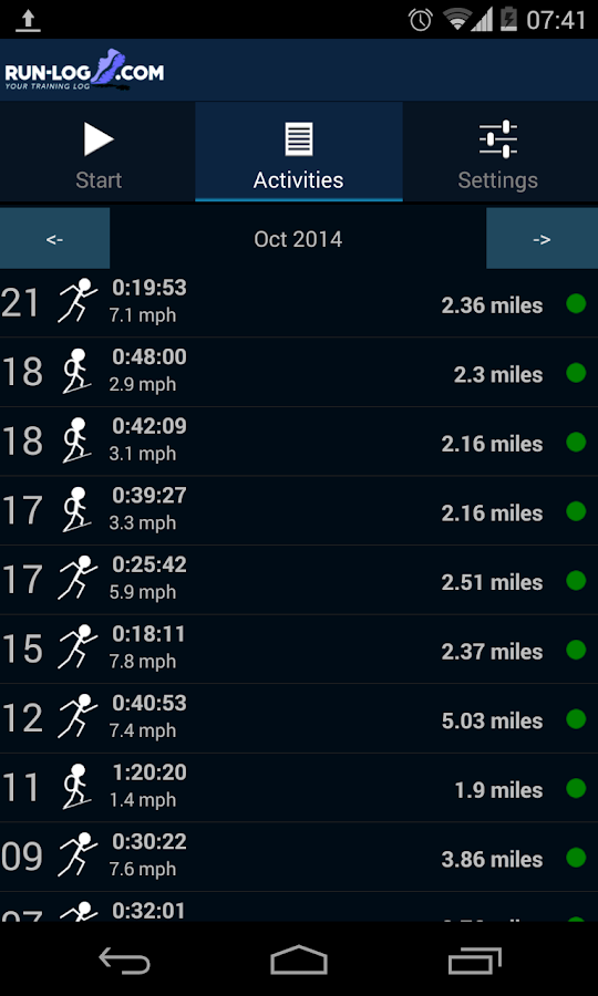 Running tracker - Run-log.com- screenshot