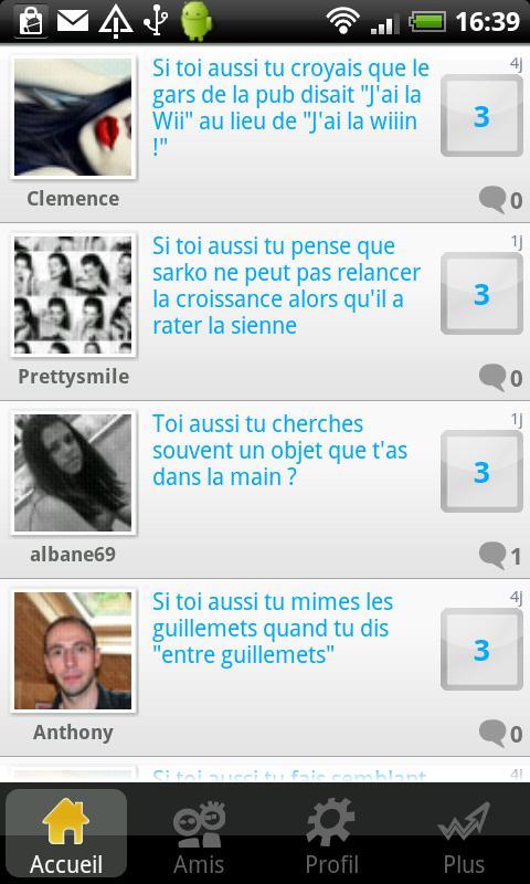Sondage entre amis- screenshot