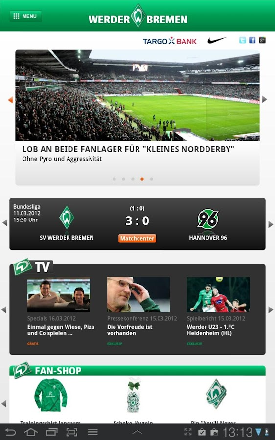sv werder bremen android apps auf google play. Black Bedroom Furniture Sets. Home Design Ideas