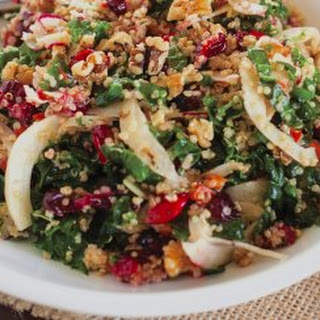 Roasted Garlic Kale & Quinoa Salad With Cranberries.