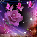Purple Butterfly Rose Live Wal icon